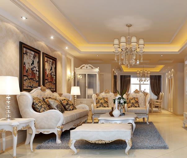 地面是以铺地板或地砖为主,但是在欧式客厅装修,地面以铺地毯为主.